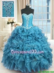 Superior Baby Blue Sleeveless Floor Length Beading and Ruffles Lace Up Sweet 16 Dress