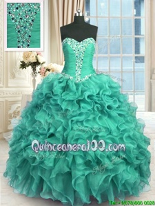 Stunning Turquoise Ball Gowns Sweetheart Sleeveless Organza Floor Length Lace Up Beading and Ruffles 15 Quinceanera Dress