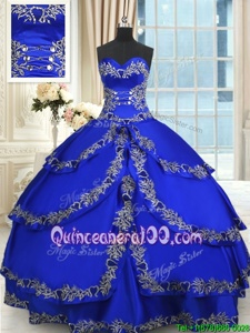 Hot Selling Spring and Summer and Fall and Winter Taffeta Sleeveless Floor Length Sweet 16 Dress andBeading and Embroidery and Ruffled Layers