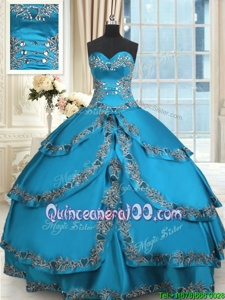 Excellent Blue Ball Gowns Sweetheart Sleeveless Taffeta Floor Length Lace Up Beading and Embroidery and Ruffled Layers Quinceanera Dresses