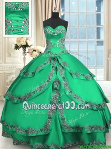 Sweet Ruffled Floor Length Ball Gowns Sleeveless Turquoise Sweet 16 Quinceanera Dress Lace Up