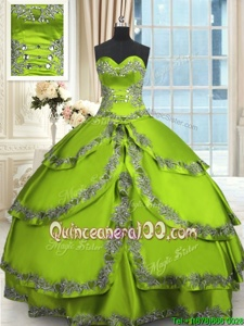 Floor Length Spring Green and Yellow Green Quinceanera Dresses Taffeta Sleeveless Spring and Summer and Fall and Winter Beading and Embroidery and Ruffled Layers