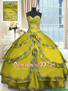 Dazzling Ruffled Yellow Green Sleeveless Taffeta Lace Up Ball Gown Prom Dress forMilitary Ball and Sweet 16 and Quinceanera