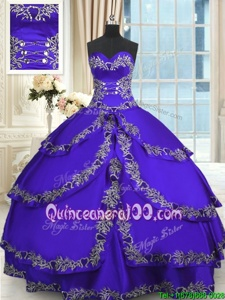 Lovely Sleeveless Lace Up Floor Length Beading and Appliques and Ruffled Layers 15th Birthday Dress