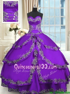 Best Purple Quinceanera Dress Military Ball and Sweet 16 and Quinceanera and For withBeading and Appliques and Ruffled Layers Sweetheart Sleeveless Lace Up