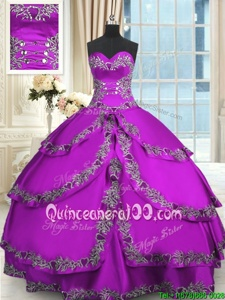 Pretty Sleeveless Beading and Embroidery and Ruffled Layers Lace Up Quinceanera Gowns