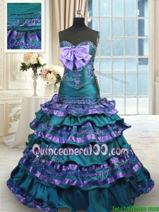 Custom Fit Mermaid Sweetheart Sleeveless Quinceanera Gown Sweep Train Appliques and Ruffled Layers and Bowknot Peacock Green Taffeta