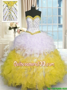 Captivating Sleeveless Lace Up Floor Length Beading and Ruffles Quinceanera Dress
