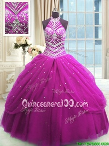 Unique Fuchsia Ball Gowns High-neck Sleeveless Tulle Floor Length Lace Up Beading Ball Gown Prom Dress