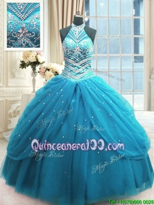 Edgy Baby Blue Lace Up Quinceanera Gowns Beading Sleeveless Floor Length