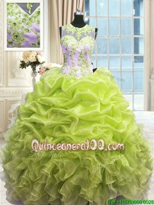 Colorful Scoop Yellow Green Sleeveless Organza Zipper Quince Ball Gowns forMilitary Ball and Sweet 16 and Quinceanera