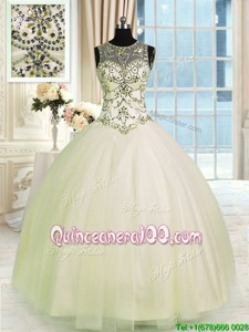 Traditional Scoop Champagne Lace Up Quinceanera Dresses Beading Sleeveless Floor Length