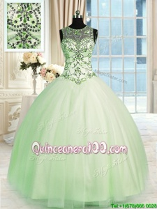 Custom Made Apple Green Scoop Lace Up Beading Quinceanera Dress Sleeveless