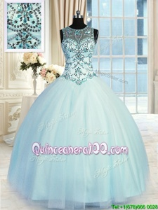 Fantastic Light Blue Ball Gowns Tulle Scoop Sleeveless Beading Floor Length Lace Up Quinceanera Dresses