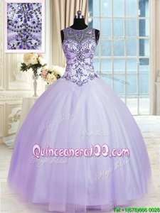 Shining Scoop Sleeveless Tulle Floor Length Lace Up Sweet 16 Quinceanera Dress inLavender forSpring and Summer and Fall and Winter withBeading