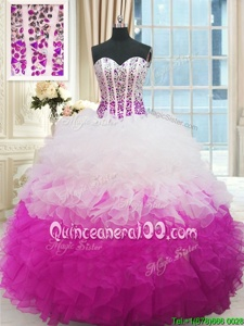 Custom Designed Sweetheart Sleeveless Organza Vestidos de Quinceanera Beading and Ruffles Lace Up