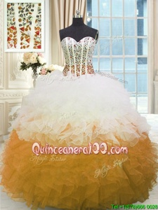 Pretty White and Gold Sweetheart Neckline Beading and Ruffles Sweet 16 Dresses Sleeveless Lace Up