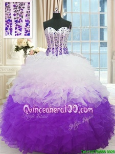 Shining Spring and Summer and Fall and Winter Organza Sleeveless Floor Length Sweet 16 Quinceanera Dress andBeading and Ruffles