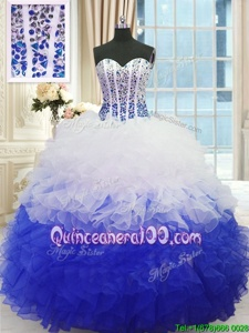 Sumptuous Floor Length Blue And White 15th Birthday Dress Organza Sleeveless Spring and Summer and Fall and Winter Beading and Ruffles
