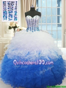 High End Floor Length Blue And White Vestidos de Quinceanera Organza Sleeveless Spring and Summer and Fall and Winter Beading and Ruffles