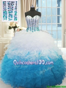 Exquisite Blue And White Sleeveless Beading and Ruffles Floor Length Quinceanera Dress