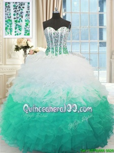 Clearance White and Multi-color Sweetheart Neckline Beading and Ruffles Quinceanera Dress Sleeveless Lace Up