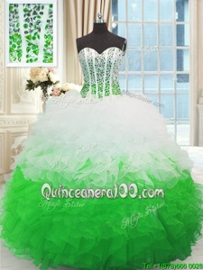 Spring and Summer and Fall and Winter Organza Sleeveless Floor Length Quinceanera Gown andBeading and Ruffles