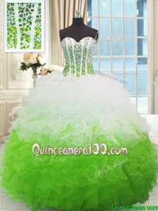 New Style White and Green Lace Up Sweetheart Beading and Ruffles Quinceanera Gown Organza Sleeveless