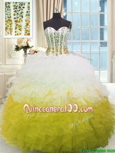 Designer Floor Length Lace Up Ball Gown Prom Dress Yellow And White and In forMilitary Ball and Sweet 16 and Quinceanera withBeading and Ruffles