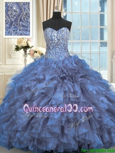 Sexy Light Blue Organza Lace Up Sweetheart Sleeveless Quinceanera Gowns Brush Train Beading and Ruffles