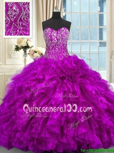 High Class Sleeveless Beading and Ruffles Lace Up Sweet 16 Dresses with Purple Brush Train