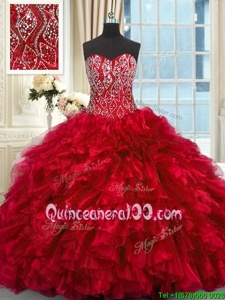 Best Selling Sleeveless Brush Train Beading and Ruffles Lace Up Quinceanera Gown
