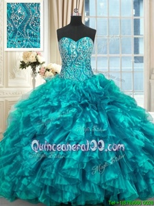 Dazzling Sleeveless Organza Brush Train Lace Up Quinceanera Dresses inTeal forSpring and Summer and Fall and Winter withBeading and Ruffles