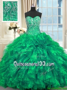 Sweet Spring and Summer and Fall and Winter Organza Sleeveless Ball Gown Prom Dress Brush Train andBeading and Ruffles
