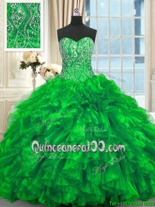 Affordable Green Organza Lace Up Ball Gown Prom Dress Sleeveless Brush Train Beading and Ruffles