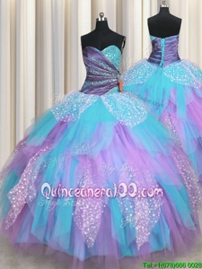 Multi-color Lace Up Quinceanera Gown Beading and Ruching Sleeveless Floor Length