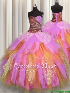 Latest Sweetheart Sleeveless Lace Up Quinceanera Gown Multi-color Tulle