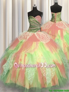 Floor Length Ball Gowns Sleeveless Multi-color Ball Gown Prom Dress Lace Up