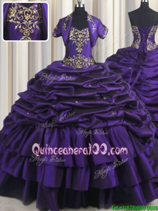 Smart Sweetheart Sleeveless Taffeta Quinceanera Dress Beading and Appliques and Pick Ups Brush Train Lace Up