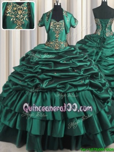Custom Designed Peacock Green Ball Gowns Taffeta Sweetheart Sleeveless Beading and Appliques and Pick Ups With Train Lace Up Sweet 16 Dresses Brush Train