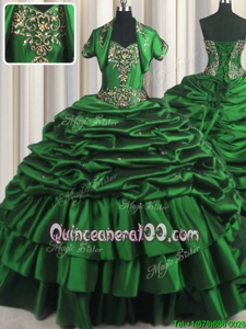 Romantic Dark Green Taffeta Lace Up Ball Gown Prom Dress Sleeveless With Brush Train Beading and Appliques and Pick Ups