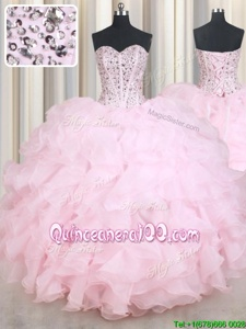 Chic Baby Pink Lace Up Quinceanera Gown Beading and Ruffles Sleeveless Floor Length