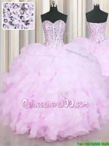 Custom Designed Lilac Mermaid Sweetheart Sleeveless Organza Floor Length Lace Up Beading and Ruffles Quinceanera Gown