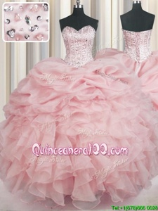 Superior Baby Pink Sweetheart Neckline Beading and Ruffles 15th Birthday Dress Sleeveless Lace Up