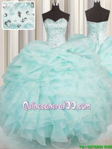 Top Selling Beading and Ruffles Sweet 16 Quinceanera Dress Aqua Blue Lace Up Sleeveless Floor Length