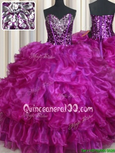 Fabulous Fuchsia Organza Lace Up Sweetheart Sleeveless Floor Length Quince Ball Gowns Beading and Ruffles
