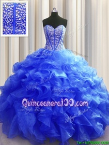 Fantastic Visible Boning Royal Blue Sleeveless Organza Lace Up 15th Birthday Dress forMilitary Ball and Sweet 16 and Quinceanera