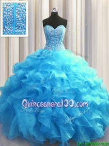 Extravagant Visible Boning Baby Blue Sleeveless Beading and Ruffles Floor Length Ball Gown Prom Dress