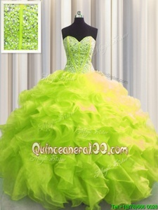 Custom Design Visible Boning Spring and Summer and Fall and Winter Organza Sleeveless Floor Length Sweet 16 Dresses andBeading and Ruffles