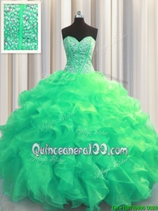 Comfortable Visible Boning Turquoise Lace Up Sweetheart Beading and Ruffles Quinceanera Dress Organza Sleeveless